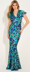 Blue Multi Printed Dorchester Maxi Dress - style: ballgown; neckline: low v-neck; sleeve style: puffed; waist detail: fitted waist; secondary colour: navy; predominant colour: turquoise; occasions: evening, occasion; length: floor length; fit: body skimming; fibres: polyester/polyamide - 100%; sleeve length: short sleeve; pattern type: fabric; pattern size: small &amp; busy; pattern: patterned/print; texture group: other - light to midweight