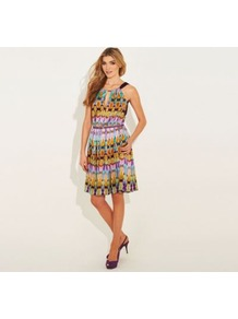Multi Printed Angel Dress - fit: fitted at waist; sleeve style: sleeveless; style: blouson; neckline: halter neck; waist detail: belted waist/tie at waist/drawstring; secondary colour: yellow; occasions: evening, holiday; length: just above the knee; fibres: polyester/polyamide - stretch; hip detail: structured pleats at hip; predominant colour: multicoloured; sleeve length: sleeveless; texture group: sheer fabrics/chiffon/organza etc.; pattern type: fabric; pattern size: big & busy; pattern: patterned/print