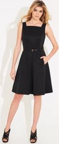 Black Belted Paddington Dress - neckline: high square neck; pattern: plain; sleeve style: sleeveless; back detail: low cut/open back; waist detail: structured pleats at waist; predominant colour: black; occasions: evening, occasion; length: on the knee; fit: fitted at waist & bust; style: fit & flare; fibres: cotton - mix; sleeve length: sleeveless; trends: volume; pattern type: fabric; texture group: other - light to midweight