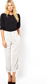 Trousers With Ankle Tab Detail - pattern: plain; style: capri; waist detail: fitted waist; pocket detail: small back pockets, pockets at the sides; waist: mid/regular rise; predominant colour: ivory; occasions: casual, evening, work, holiday; length: ankle length; fibres: polyester/polyamide - 100%; hip detail: front pleats at hip level; jeans &amp; bottoms detail: turn ups; texture group: crepes; fit: straight leg; pattern type: fabric