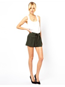 Belted Shorts With Turn Up - pattern: plain; style: shorts; pocket detail: small back pockets, pockets at the sides; waist: low rise; length: short shorts; predominant colour: black; occasions: casual, evening, holiday; fibres: polyester/polyamide - mix; hip detail: draped at hip/ruched; waist detail: paperbag waist; jeans &amp; bottoms detail: turn ups; texture group: silky - light; fit: straight leg; pattern type: fabric