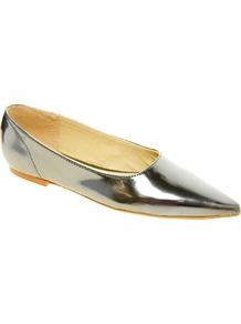 Silver Point Flat Shoes - predominant colour: silver; occasions: casual, evening; material: faux leather; heel height: flat; toe: pointed toe; style: ballerinas / pumps; trends: metallics; finish: metallic; pattern: plain