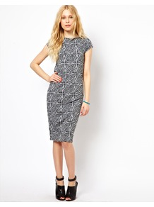 Tattoo Print Midi Dress - style: shift; sleeve style: capped; fit: tailored/fitted; waist detail: fitted waist; hip detail: fitted at hip; predominant colour: charcoal; secondary colour: charcoal; occasions: evening, work; length: on the knee; fibres: polyester/polyamide - stretch; neckline: crew; sleeve length: short sleeve; trends: modern geometrics; pattern type: fabric; pattern size: small &amp; busy; pattern: patterned/print; texture group: jersey - stretchy/drapey