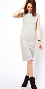 Midi Dress With Exaggerated Shoulder - style: shift; pattern: plain; sleeve style: sleeveless; predominant colour: light grey; occasions: casual; length: on the knee; fit: body skimming; fibres: cotton - mix; neckline: crew; sleeve length: sleeveless; pattern type: fabric; texture group: jersey - stretchy/drapey