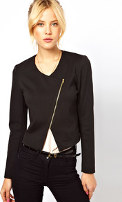 Biker Jacket In Ponte - pattern: plain; style: biker; collar: asymmetric biker; length: cropped; fit: slim fit; predominant colour: black; occasions: casual, evening; fibres: polyester/polyamide - stretch; back detail: shorter hem at back than at front; sleeve length: long sleeve; sleeve style: standard; collar break: high/illusion of break when open; pattern type: fabric; texture group: jersey - stretchy/drapey