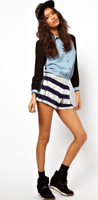 Shorts In Foil Stripe - pattern: horizontal stripes; style: shorts; waist detail: elasticated waist; length: short shorts; waist: mid/regular rise; secondary colour: navy; predominant colour: silver; occasions: casual, evening, holiday; fibres: viscose/rayon - stretch; hip detail: draped at hip/ruched; texture group: structured shiny - satin/tafetta/silk etc.; trends: metallics; fit: baggy; pattern type: fabric; pattern size: big &amp; busy