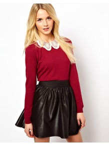Embroidered Lace Collar Jumper - pattern: plain; style: standard; secondary colour: ivory; predominant colour: burgundy; occasions: casual, work; length: standard; fibres: cotton - mix; fit: standard fit; neckline: no opening/shirt collar/peter pan; back detail: keyhole/peephole detail at back; sleeve length: long sleeve; sleeve style: standard; texture group: knits/crochet; pattern type: knitted - fine stitch; embellishment: lace
