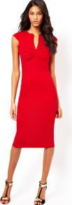Sexy Pencil Dress With Pleated Bust - length: below the knee; neckline: low v-neck; sleeve style: capped; fit: tight; pattern: plain; style: bodycon; bust detail: ruching/gathering/draping/layers/pintuck pleats at bust; predominant colour: true red; occasions: evening, work, occasion; fibres: viscose/rayon - stretch; sleeve length: sleeveless; trends: glamorous day shifts; pattern type: fabric; texture group: jersey - stretchy/drapey