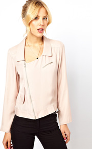 Soft Biker Jacket - pattern: plain; style: biker; collar: asymmetric biker; fit: slim fit; predominant colour: nude; occasions: casual, evening; length: standard; fibres: polyester/polyamide - 100%; sleeve length: long sleeve; sleeve style: standard; texture group: silky - light; collar break: high/illusion of break when open; pattern type: fabric