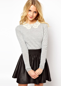 Embroidered Lace Collar Jumper - pattern: plain; style: standard; secondary colour: ivory; predominant colour: light grey; occasions: casual, work; length: standard; fibres: cotton - mix; fit: standard fit; neckline: no opening/shirt collar/peter pan; back detail: keyhole/peephole detail at back; sleeve length: long sleeve; sleeve style: standard; texture group: knits/crochet; pattern type: knitted - fine stitch; embellishment: lace