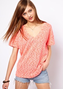 T Shirt In Texture With V Neck - neckline: low v-neck; pattern: plain; style: t-shirt; predominant colour: pink; occasions: casual, holiday; length: standard; fibres: cotton - mix; fit: loose; sleeve length: short sleeve; sleeve style: standard; pattern type: fabric; texture group: jersey - stretchy/drapey