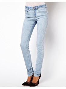 Elgin Supersoft Skinny Jeans In Bleach Wash - style: skinny leg; length: standard; pattern: plain; pocket detail: traditional 5 pocket; waist: mid/regular rise; predominant colour: denim; occasions: casual, holiday; fibres: cotton - stretch; jeans detail: washed/faded; texture group: denim; pattern type: fabric