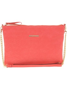 Coral Ri Embossed Across Body Bag - predominant colour: coral; occasions: casual, evening; type of pattern: light; style: shoulder; length: across body/long; size: standard; material: faux leather; pattern: monogram, plain; finish: plain; embellishment: chain/metal