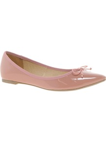 Live Pointed Ballet Flats - predominant colour: nude; occasions: casual, work; material: faux leather; heel height: flat; toe: pointed toe; style: ballerinas / pumps; finish: patent; pattern: plain