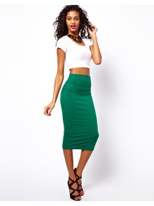 Wasp Pencil Skirt - length: below the knee; pattern: plain; style: pencil; fit: tight; waist: mid/regular rise; predominant colour: emerald green; occasions: casual, evening, work; fibres: cotton - stretch; pattern type: fabric; texture group: jersey - stretchy/drapey