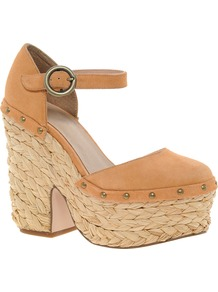 Poplar Suede Platforms - predominant colour: tan; occasions: casual, evening, holiday; material: suede; heel height: high; embellishment: studs; ankle detail: ankle strap; heel: platform; toe: round toe; style: mary janes; finish: plain; pattern: plain