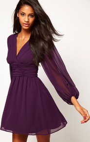 Skater Dress With Blouson Sleeves - neckline: low v-neck; pattern: plain; sleeve style: balloon; waist detail: twist front waist detail/nipped in at waist on one side/soft pleats/draping/ruching/gathering waist detail; predominant colour: aubergine; occasions: evening, occasion; length: just above the knee; fit: fitted at waist &amp; bust; style: fit &amp; flare; fibres: polyester/polyamide - 100%; sleeve length: long sleeve; texture group: sheer fabrics/chiffon/organza etc.; bust detail: tiers/frills/bulky drapes/pleats; pattern type: fabric