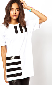 Boyfriend T Shirt With Plasticised Barcode Print - pattern: striped; length: below the bottom; style: t-shirt; predominant colour: white; secondary colour: black; occasions: casual; fibres: cotton - stretch; fit: loose; neckline: crew; sleeve length: short sleeve; sleeve style: standard; pattern type: fabric; pattern size: small & light; texture group: jersey - stretchy/drapey