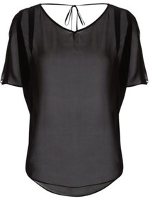 Graduate Fashion Week Chiffon Blouse Black - neckline: v-neck; pattern: plain; back detail: low cut/open back; style: blouse; predominant colour: black; occasions: casual, evening; length: standard; fibres: polyester/polyamide - 100%; fit: straight cut; sleeve length: short sleeve; sleeve style: standard; texture group: sheer fabrics/chiffon/organza etc.; pattern type: fabric; pattern size: standard