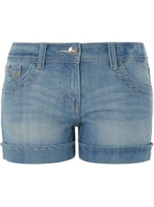 Light Washed Denim Shorts Blue - pattern: plain; style: shorts; waist detail: fitted waist; pocket detail: traditional 5 pocket; length: short shorts; waist: mid/regular rise; predominant colour: denim; occasions: casual, holiday; fibres: cotton - mix; hip detail: fitted at hip (bottoms); jeans &amp; bottoms detail: turn ups; texture group: denim; fit: slim leg; pattern type: fabric