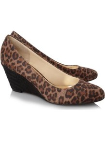 Leopard Print Wedges Multi - predominant colour: chocolate brown; occasions: casual, evening, work; material: fabric; heel height: mid; heel: wedge; toe: round toe; style: courts; finish: plain; pattern: animal print