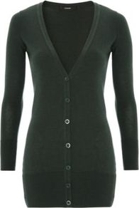 V Neck Boyfriend Cardigan Forest - neckline: low v-neck; pattern: plain; length: below the bottom; predominant colour: dark green; occasions: casual, work; style: standard; fibres: cotton - mix; fit: slim fit; sleeve length: long sleeve; sleeve style: standard; texture group: knits/crochet; pattern type: knitted - other; pattern size: standard