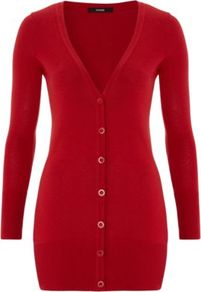 V Neck Boyfriend Cardigan Red - neckline: low v-neck; pattern: plain; length: below the bottom; predominant colour: true red; occasions: casual, work; style: standard; fibres: cotton - mix; fit: slim fit; sleeve length: long sleeve; sleeve style: standard; texture group: knits/crochet; pattern type: knitted - other; pattern size: standard