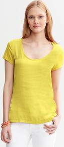 Mixed Media Tee - pattern: plain; style: t-shirt; predominant colour: yellow; occasions: casual; length: standard; neckline: scoop; fibres: viscose/rayon - 100%; fit: body skimming; sleeve length: short sleeve; sleeve style: standard; pattern type: fabric; texture group: jersey - stretchy/drapey