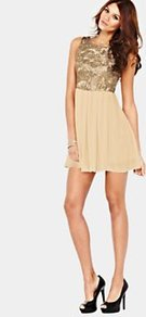 2in1 Sequin Mini Dress, Gold - length: mini; sleeve style: sleeveless; bust detail: added detail/embellishment at bust; back detail: low cut/open back; waist detail: structured pleats at waist; shoulder detail: contrast pattern/fabric at shoulder; predominant colour: gold; occasions: evening, occasion, holiday; fit: fitted at waist &amp; bust; style: fit &amp; flare; fibres: polyester/polyamide - stretch; neckline: crew; sleeve length: sleeveless; texture group: sheer fabrics/chiffon/organza etc.; trends: metallics; pattern type: fabric; pattern size: small &amp; light; embellishment: sequins
