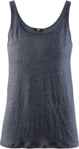 Linen Vest Top - pattern: plain; sleeve style: sleeveless; back detail: cowl/draping/scoop at back; style: vest top; predominant colour: charcoal; occasions: casual; length: standard; neckline: scoop; fibres: linen - 100%; fit: body skimming; sleeve length: sleeveless; texture group: linen; pattern type: fabric