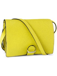 Leather Shoulder Bag - predominant colour: yellow; occasions: casual, evening, occasion, holiday; type of pattern: small; style: shoulder; length: across body/long; size: small; material: leather; pattern: plain; trends: fluorescent; finish: plain