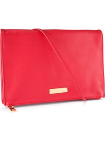 Shoulder Bag - predominant colour: hot pink; occasions: casual, evening, work, occasion, holiday; style: clutch; length: shoulder (tucks under arm); size: standard; material: faux leather; embellishment: studs; pattern: plain; trends: fluorescent; finish: plain