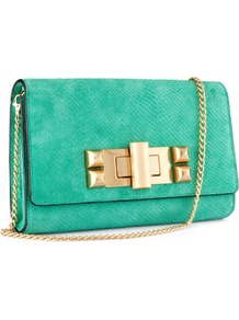 Suede Clutch - predominant colour: mint green; occasions: casual, evening, work, holiday; style: clutch; length: shoulder (tucks under arm); size: small; material: suede; pattern: plain; finish: plain; embellishment: chain/metal
