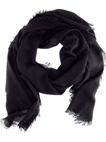 Cashmere Scarf - predominant colour: black; occasions: casual, evening, work, occasion; type of pattern: standard; style: regular; size: standard; material: knits; pattern: plain