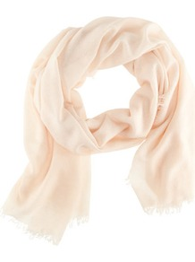 Cashmere Scarf - predominant colour: ivory; occasions: casual, work, occasion; type of pattern: standard; style: regular; size: standard; material: knits; embellishment: fringing; pattern: plain