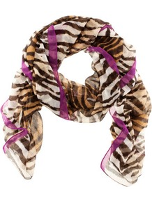 Scarf - occasions: casual, evening, work, occasion; predominant colour: multicoloured; type of pattern: standard; style: regular; size: standard; material: fabric; pattern: animal print