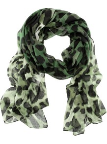 Scarf - occasions: casual, evening, work; predominant colour: multicoloured; type of pattern: standard; style: regular; size: standard; material: fabric; pattern: animal print