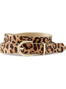 Belt - predominant colour: tan; occasions: casual, evening, work, occasion; type of pattern: heavy; style: classic; size: standard; worn on: waist; material: suede; pattern: animal print; finish: plain; embellishment: buckles