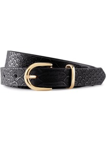 Belt - predominant colour: black; occasions: casual, evening, work; type of pattern: light; style: classic; size: standard; worn on: waist; material: suede; pattern: animal print; finish: plain