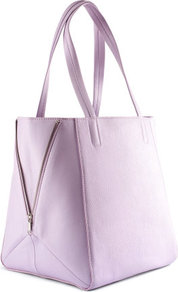 Bag - predominant colour: lilac; occasions: casual, work; style: tote; length: handle; size: standard; material: faux leather; embellishment: zips; pattern: plain; finish: plain