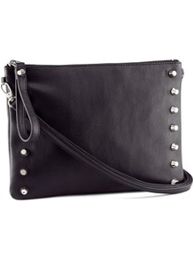 Clutch - predominant colour: black; occasions: casual, evening; style: clutch; length: hand carry; size: small; material: faux leather; embellishment: studs; pattern: plain; finish: plain