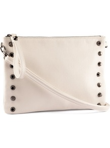 Clutch - predominant colour: ivory; occasions: casual, evening, occasion, holiday; type of pattern: standard; style: clutch; length: hand carry; size: standard; material: faux leather; embellishment: studs; pattern: plain; finish: plain