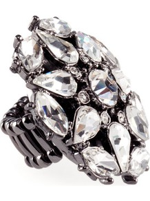 Ring - predominant colour: charcoal; occasions: evening, occasion; style: cocktail; size: large/oversized; material: chain/metal; trends: metallics; finish: metallic; embellishment: crystals