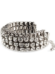 Bracelet - predominant colour: silver; occasions: evening, work, occasion; style: bangle; size: standard; material: chain/metal; trends: metallics; finish: metallic; embellishment: crystals