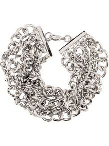 Bracelet - predominant colour: silver; occasions: casual, evening, work, occasion, holiday; style: chain; size: large/oversized; material: chain/metal; trends: metallics; finish: metallic; embellishment: chain/metal