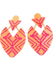 Earrings - predominant colour: coral; occasions: casual, evening, occasion, holiday; style: drop; length: mid; size: standard; material: plastic/rubber; fastening: pierced; trends: statement prints, fluorescent, modern geometrics; finish: plain; embellishment: chain/metal