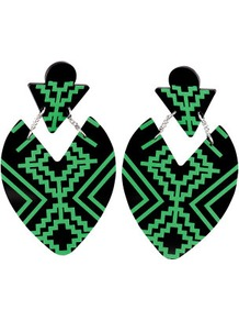 Earrings - predominant colour: black; occasions: casual, evening, work, occasion, holiday; style: drop; length: mid; size: large/oversized; material: plastic/rubber; fastening: pierced; trends: fluorescent, modern geometrics; finish: fluorescent