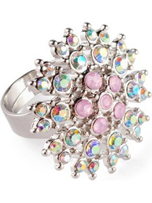 Ring - predominant colour: silver; occasions: casual, evening, work, occasion, holiday; style: cocktail; size: large/oversized; material: chain/metal; trends: metallics; finish: metallic; embellishment: crystals