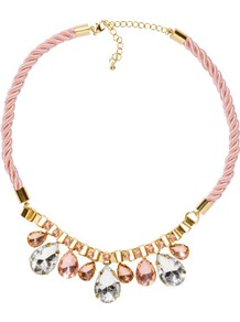 Necklace - predominant colour: blush; occasions: evening, occasion, holiday; style: standard; length: short; size: standard; material: fabric; trends: metallics; finish: metallic; embellishment: crystals