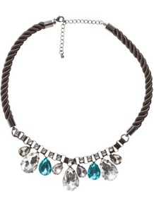 Necklace - predominant colour: black; occasions: evening, occasion, holiday; style: standard; length: short; size: standard; material: fabric; trends: fluorescent, metallics; finish: metallic; embellishment: crystals